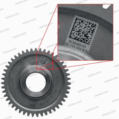 LASER MARKING OF DATA MATRIX CODE ON GEAR