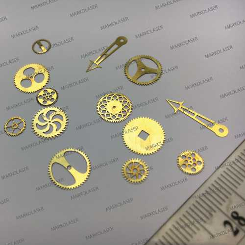 Laser cutting on brass watch gears and needles