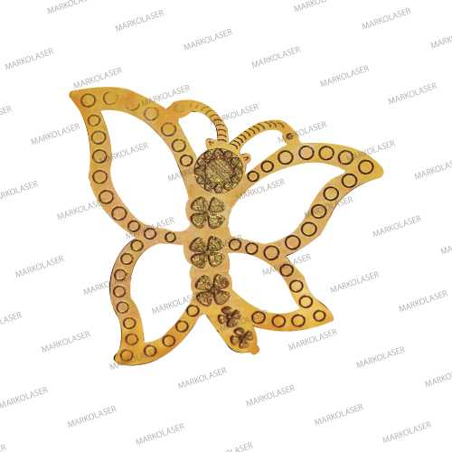 laser cutting on brass butterfly pendant