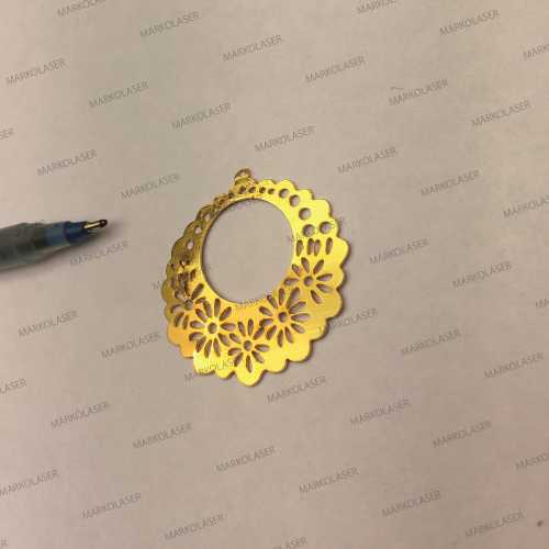 laser cutting on brass flower pendant